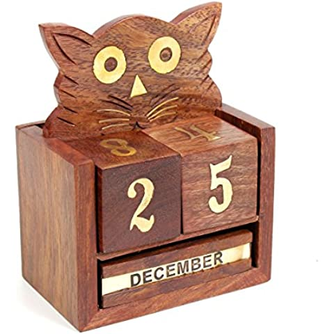 Bloque de madera calendario perpetuo y pluma Soporte Artesanal En Forma Gato con latón embutido, escritorio de oficina Decoración de accesorios
