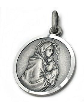 Unbespielt Unisex Kettenanhänger Anhänger Maria mit Jesuskind aus 925 Silber Abmessung 18 mm inkl. kleiner Schmuckbox