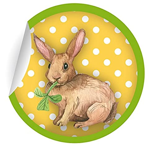 5 x 24 süße Oster Aufkleber | Sticker mit Punkten und Klee mümmelndem Hasen in gelb grün, MATTE Papieraufkleber für Geschenke, Etiketten für Tischdeko, Pakete, Briefe und mehr (ø 45mm; 1 Motiv)