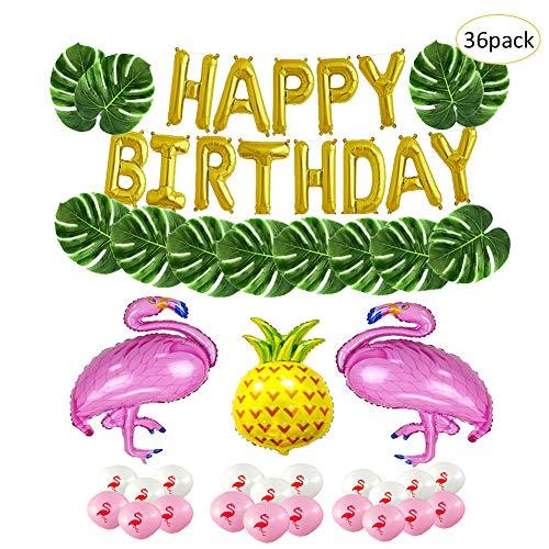 eko,36 Stück Flamingo Deko Geburtstag Happy Birthday Party Dekoration für Hawaiian Luau Sommerfest Beach Party ()