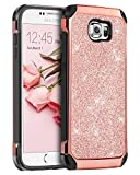 BENTOBEN Samsung Galaxy S6 Hülle, Galaxy S6 Hülle, Galaxy S6 Schutzhülle stoßfest Hybrid PC Schale TPU Cover Glitzer Handyhülle für Samsung Galaxy S6 G920 Rosegold