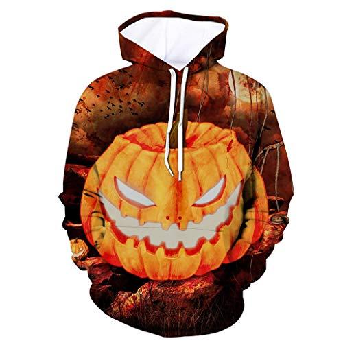 AZZRA Herren Scary Halloween Pumpkin 3D Print mit Kapuze Party Langarm Hoodie Bluse Kapuzenpullover Teenager Mädchen Pullover Sweatshirt Unisex Winter Kapuzenshirt Leicht Casual Hooded Mit - Mods Und Rocker Kostüm