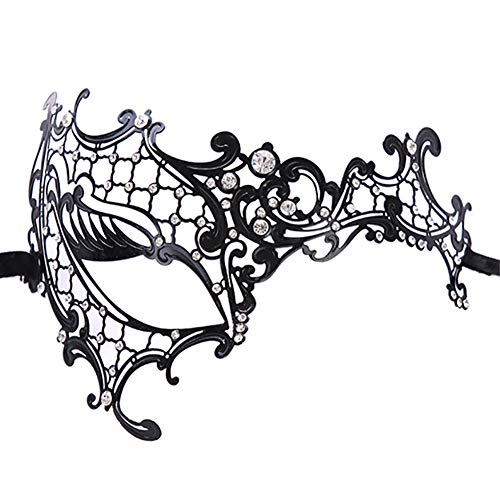 Tukistore Modell Venezianischen Metall Strass Maske Schwarz Masquerade Damen Augenmaske Gothic Maskerade Luxus Style Princess Party ()