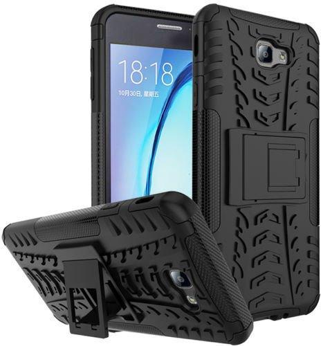 CEDO Polycarbonate Hybrid Military Grade Armor Kickstand Back Cover for Samsung Galaxy J7 Prime (Black)