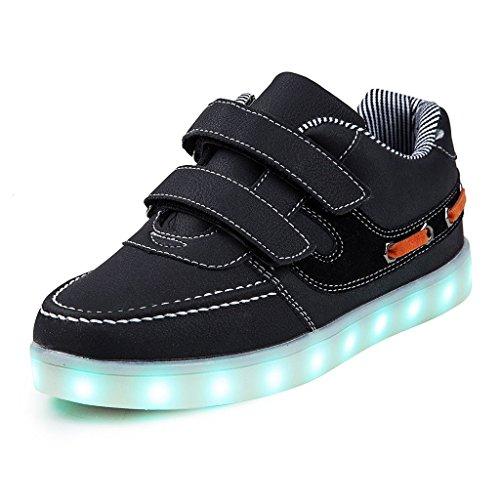 nde Schuhe Kinder Jungen Mädchen Leuchten Schuhe USB Aufladung Blinkende LED Sneakers 11 Farben Modi (EU 37, Schwarz) (Top 11-halloween)