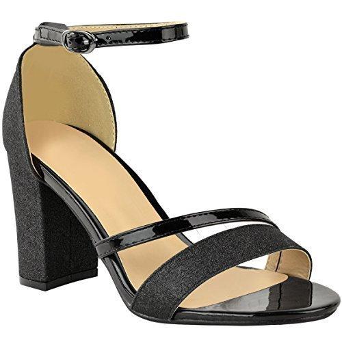 Fashion Thirsty Sandales à Talons Moyens - Paillettes - Femme Paillettes noires/brillant