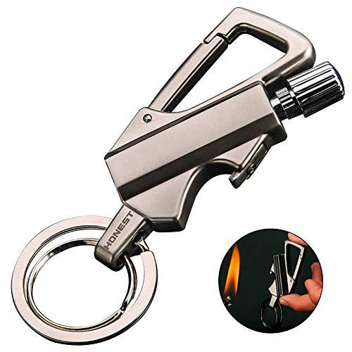 BOLLAER New Match Metall Matchstick Geschenk Outdoor Feuer Starter Wasserdichte Survival Gear Wandern Match Feuerzeug Feuer Starter Schlüsselanhänger und Flaschenöffner (Silber)