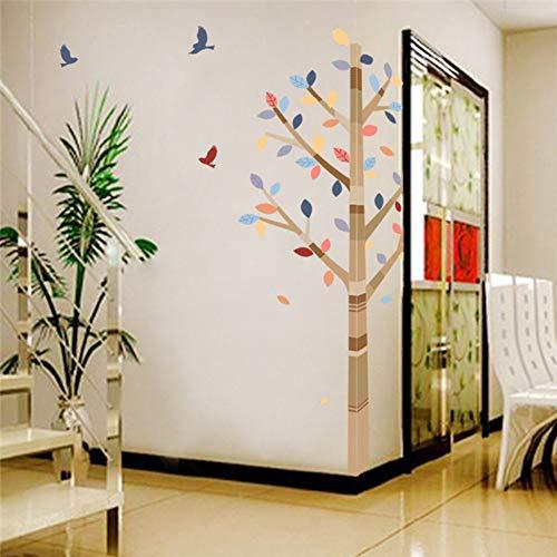 Foresta albero colorato animali uccelli adesivi murali per soggiorno camera da letto tv divano sfondo ristorante cafe decor decalcomania da muro, 02