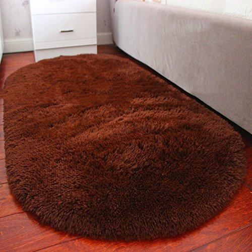 Teppich Europäischen Stil Oval Bett Schlafzimmer Nachtdecke Gepflastert Schöne Wohnzimmer Couchtisch Matten Solid Color (Farbe : Brown, größe : 80cm*160cm)