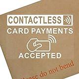 1x carte sans contact, Paiements Accepted-130mm Blanc sur clair Interne Window...