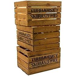 Kistenkoli Altes Land Lot de 3Ã'grosses caisses à fruits Ã'Â«Ã'TSÃ'Ã'» caisses à vin ou à pommes en bois Shabby Vintage by Kistenkolli Altes Land