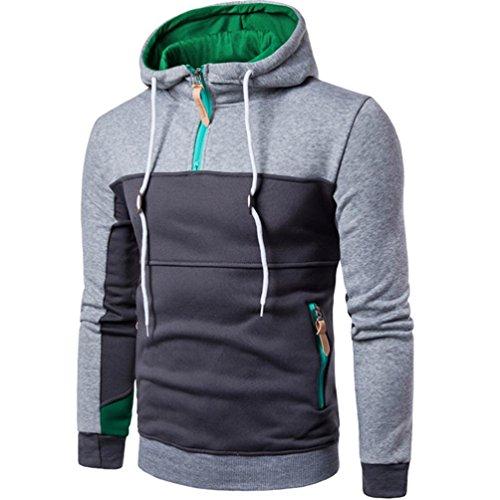 Huihong Herren Sweat Jacke mit Kapuze Hoodie Schrägzip Pullover Mode Patchwork Langarm Herren Pullover Mantel Ständer Kragen Pullover Outwear M - 3XL (Grau, 2XL)