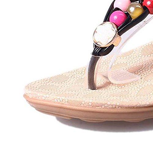YOUJIA Tongs Sandales Bohême Perles De Couleur De T-Sangle Chaussures De Plage Pour Femme Noir