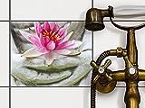 Fliesen-Sticker / Designfolie 25x20 cm 1x1 / Design Aufkleber Flower Buddha / selbstklebender Schutz