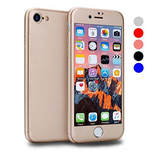 Custodia iPhone 6 Full Body Ultra Sottile Morbido TPU Protettiva Cover Case + Vetro Temperato Proteggi Schermo 3 in 1 Design Front & Indietro Caso&Vetro Film Lusso Protezione Completa iPhone 6s Plus oro