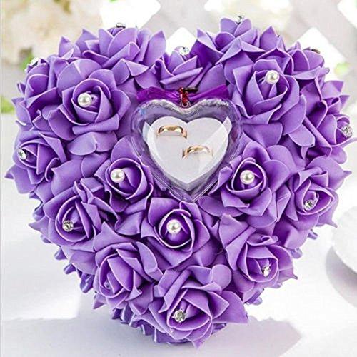 Yosoo Romantic Rose Hochzeit Ringkissen Ring Box Herz Bevorzugungen Ehering Kissen mit eleganter Satin Flora (1 Lila) (Eine Für Hochzeit Bevorzugungen)