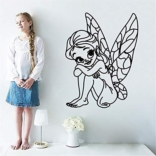 yiyiyaya Fee Cartoon Kinder Wandaufkleber Steuern Dekor Abnehmbare Vinyl Wand Schlafzimmer Wandtattoo Baby Kinder Mädchen Raumdekoration weiß 33x44 cm