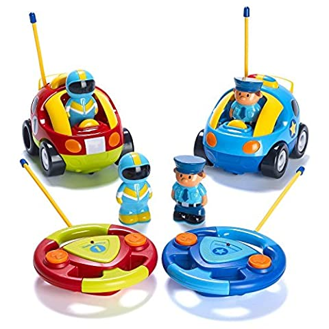 Prextex Pack of 2 Cartoon R/C Police Car and Race Car Radio Control Toys for Kids- Each with Different Frequencies So Both Can Race