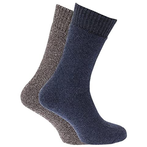 Mens Heavy Weight Boot Socks with Terry Cushioning (Pack of 2) (UK Shoe 6-11, EUR 39-45) (Brown/Navy)