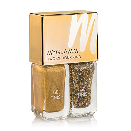 MyGlamm Two of Your Kind Gel Finish Nail Enamel Duo in Alpine Gold and Gold Glitter