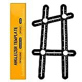 Righello multi angolo Eray, 4 righelli angolari, CM & IN, lega di alluminio, portatile e pratico, facile da usare, colore nero
