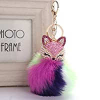 Sansee Fashion Cute Fluffy Faux Fox Fur Ball With Inlay Pearl Rhinestone Key Chain Keyring Handbag Car Decoration Gift (Colour C)