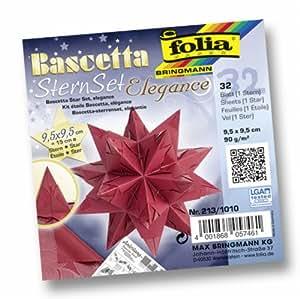 Folia 213/1010 - Bascetta Stern Set Elegance, 32 Blatt, 9.5 x 9.5 cm, Deep Jungle rot