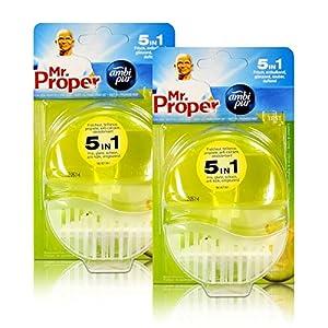 2x Mr.Proper Starterset Ambi Pur 5in1 Lemon & Lime WC-Stein flüssig mit Halterung