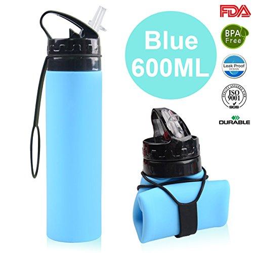 Faltbare Trinkflasche Medizinisches Silikon Wasserflasche -600ML/21OZ, Tragbare und Auslaufsichere Sportflasche für Outdoor, Reisen, Radfahren, Wandern, Camping und Picknick (S6 Blue, 600ML/21OZ)