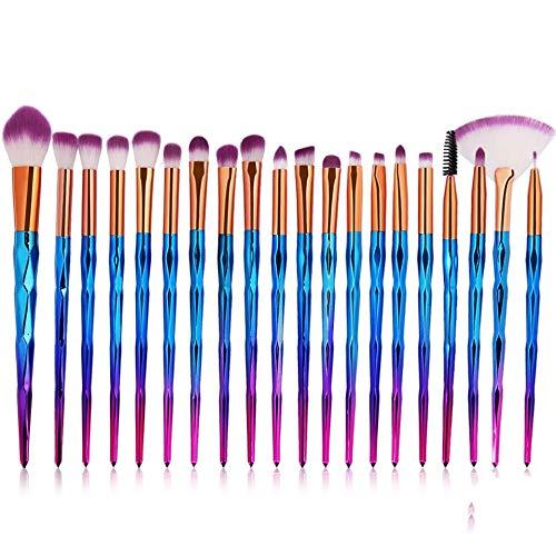 Carriea Pinceaux de Maquillage Set de 20 Pièces Premium Coloré Fondation Mélange Blush Yeux Visage Poudre Brosse Cosmétiques