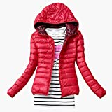 2018 New Brand Fashion Winter Jacket Women Cotton Hooded Women's Long Sleeve Basic Coat Casual Slim Solid Parkas Red XL