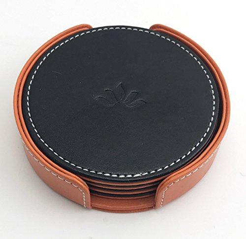 Posavasos by Homeze – Set of 4 Reversible with Gift Box ( Black & Orange )