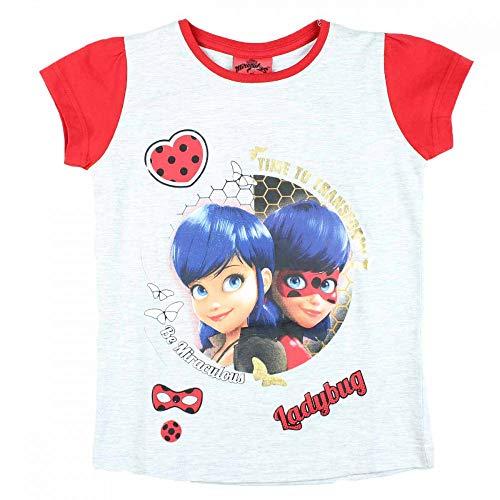 Miraculous Mädchen- Kurzarm-Shirt Cat Noire T-Shirt Lady-Bug in Größe: 104, 116, 128, 140 (grau, 128) -