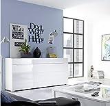Stella Trading Sideboard Tiger 44-676-13 3trg, Holzdekor, Weiß, 150 x 87 x 41 cm