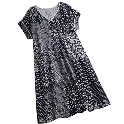 Yvelands Damen T-Shirt Weste Print Kausal ärmelloses Maxikleid Sling Sommerkleid Tank Tops(Black3,CN-L)