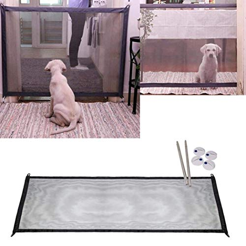 V.JUST Magic Pet Dog Tore Falten Tragbare Safe Guard Installieren Überall, Sicherheit Tore Treppen Mesh Retractable Druck Fit, Haustier Hund Zäune Protector Haus (180 × 72 cm, Schwarz) -