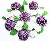 Zuckerblumen, Frühlingsstrauß aus Rosen, Gänseblümchen, Blättern und Perlen, essbar, Backzubehör, lila