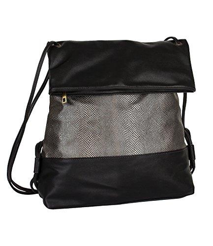 SIX-Basic-mittel-groer-Damen-Rucksack-Beutel-in-schwarz-mit-silbernem-Reptilien-Muster-im-Metallic-Look-schmale-Riemen-flap-over-463-656