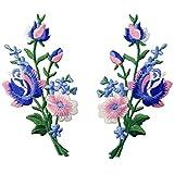 Aufnäher, bestickt, Design: Retro Blumen Strauß Boho Rose, zum Aufbügeln oder Aufnähen, Rosa Blau