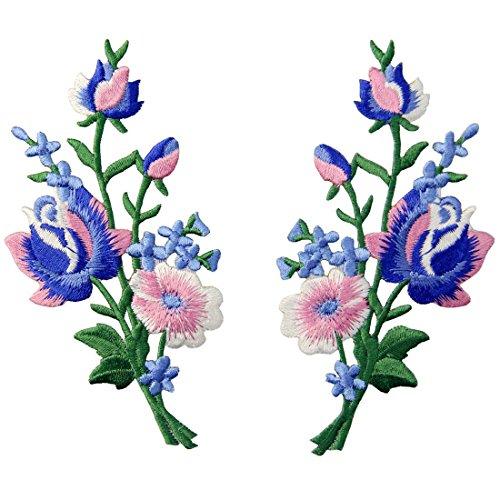 (Aufnäher, bestickt, Design: Retro Blumen Strauß Boho Rose, zum Aufbügeln oder Aufnähen, Rosa Blau)