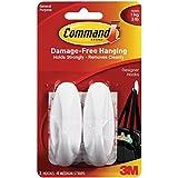 Command Designer Medium Plastic Hook(White, 2 hooks and 4 strips)