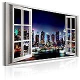 murando - Bilder Fensterblick 120x80 cm - Leinwandbild - 1 Teilig - Kunstdruck - modern - Wandbilder XXL - Wanddekoration - Design - Wand Bild - Fenster New York Stadt Nacht a d-C-0068-b-a
