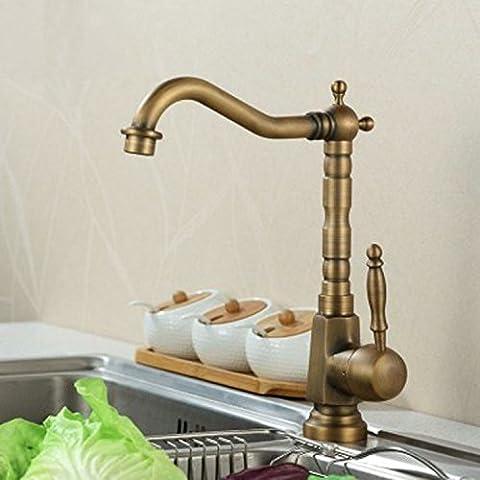 Tougmoo Eau chaude et froide robinet de lavabo antique en cuivre Eau chaude et froide robinet de lavabo Continental Mitigeur de lavabo, Plus d'un