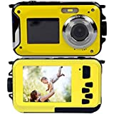 Stoga CGT001 Double Screens Waterproof Digital Video Camera 2.7-Inch Front LCD with 2.7-Inch Camera Easy Self Shot Camera-Yellow