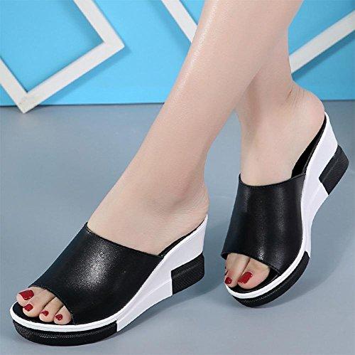 Mme sandales d'été et sandales pente pantoufles avec muffin épaisse croûte de femmes sandales femmes sandales mot Black