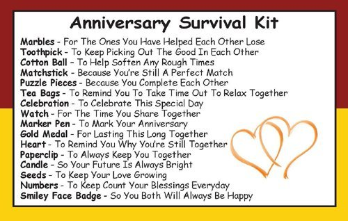 Anniversary Survival Kit In A Can. Humorous Novelty Gift - Anniversary Couple or Wedding Anniversary Present & Card All In One. Parents/Friends/Grandparents etc. Customise Your Can Colour. (Red/Yellow)