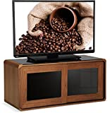 "Centurion Supports Nora Walnut Real Wood Veneer with Gloss Black Beam-Thru Glass Sliding Doors Remote Friendly 26""-52"" LED/OLED/LCD TV Cabinet"