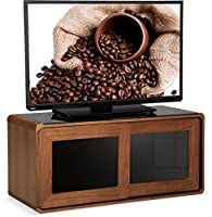 """Centurion Supports Nora Walnut Real Wood Veneer with Gloss Black Beam-Thru Glass Sliding Doors Remote Friendly 26""""-52"""" LED/OLED/LCD TV Cabinet"""