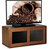 """Centurion Supports Nora Walnut Real Wood Veneer with Gloss Black Beam-Thru Glass Sliding Doors Remote Friendly 26""""-52"""" LED/ OLED / LCD TV Cabinet"""