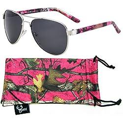 Hornz Hot Pink camuflaje polarizados gafas de aviador para las mujeres y que coinciden con bolsa de microfibra - Pequeño a mediano Tamaño de la cara - Hot Marco rosado de Camo - Lente Humo